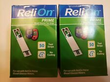 2 boxes of Relion Prime 50 glucose test strips,Total 100 strips , Exp11/21 plus!
