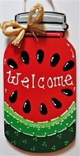 WATERMELON MASON JAR SIGN Wall Art Door Hanger Plaque Country Summer Decor