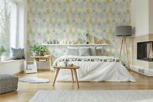 Fresco Copenhagen Leaf Duck Egg/Yellow/Grey Wallpaper (Was £11)