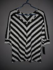 APT 9 Black, White Mitered Stripe V-Neck Dolman Sleeve Top Women's Large  NWT!