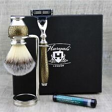 SHAVING GROOMING KIT Synthetic Brush & Gillette mach3 Vintage Style Gift for Him
