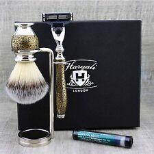 SHAVING GROOMING KIT Synthetic Brush & Gillette mach3 Vintage Style Gift for Him