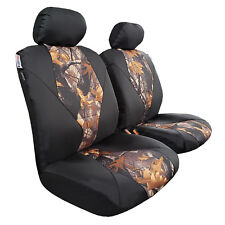 2pcs Front Camo w/t Black Outback Canvas Car Seat Covers For ISUZU DMax Dual Cab