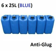 6 x 25 LITRE 25L PLASTIC BOTTLE JERRY WATER CONTAINER CANISTER ANTI GLUG - BLUE