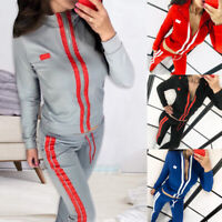 Women 2 Pieces Outfits Striped Bodycon Sweatsuit Long Sleeve Top Pant Tracksuit