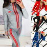 Women 2 Pcs Striped Bodycon Sweatsuit Long Sleeve Top Pant Tracksuit Outfits BSN