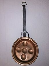 Vintage Copper And Cast Iron Aebleskiver Pan Or Poached Eggs