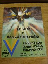 22/03/1981 Rugby League Programme: Leeds v Wakefield Trinity