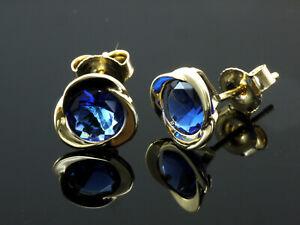 750 Gold Ohrstecker 1 Paar 8 mm Grösse mit gefassten Saphiren