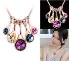 Chunky Fashion Women Crystal Flower Bib Statement Choker Chain Necklace