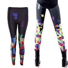 Slim Leggings For Women Colorful Tetris Digital Printing Elasticity Pants SP