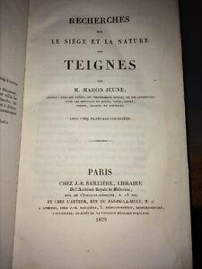 SIEGE ET NATURE DES TEIGNES par MAHON Jeune.Cinq planches en couleurs .1829.