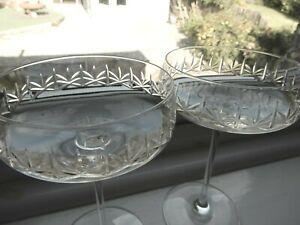 "M&S Glamorous & Elegant ""Nouveau"" Cut Crystal Champagne Saucer Coup x 2"