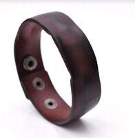 Handmade Distressed Genuine Leather Bracelet Cuff Wristband Brown Mens Unisex