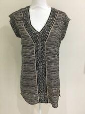 Jacqui E Women's Tunic Top Black Cream Print Size 6 Fits 8