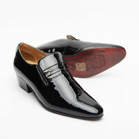MENS LUCINI BLACK PATENT LEATHER SMART FORMAL SLIP-ON CUBAN HEEL SHOES 29779