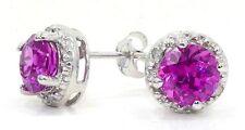 2 Carat Pink Sapphire & Diamond Round Stud Earrings 14Kt White Gold