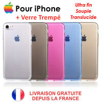 COQUE IPHONE 11 PRO MAX SE XR X XS 6 7 8 PLUS TRANSPARENTE  + VITRE VERRE TREMPE