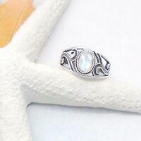 Mondstein oval weiß Design Ring Ø 17,5 18,0 18,25 19,5 mm 925 Sterling Silber