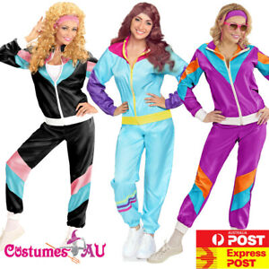 Ladies 80s Height Of Fashion Tracksuit 1980s Party Retro Disco Neon Costume
