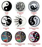 Yin Yang Peace love heart badges collection Iron or Sew on Embroidered Patch