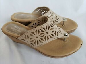 Spring Step Sandal Flower Beige Leather Thong Flip Flop Cork Wedge Women Size 38