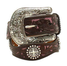 Ariat Girl's Floral Overlay Brown & Pink Leather Belt A1301802