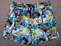 Tommy Bahama Beach Shorts Mens Sz Large Hawaiian Floral Blue Spring Swim Trunks