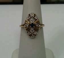 10k Yellow Gold Ring with Round Sapphire Center and Diamond Accents Size 4.75