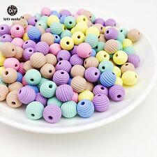 50pcs 18mm ROUND Wood Spacer Beads Wooden Beads DIY Paint Wooden Teething Safe