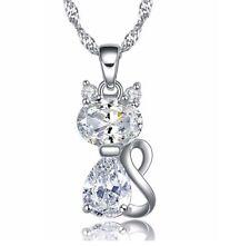 "Sterling Silver Purple Amethyst Cat Cubic Zirconia Topaz Pendant Necklace 18"""