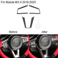 3 x Für Mazda MX-5 2016-2020 Auto Kohlefaser Innere Lenkrad Trimmen Aufkleber