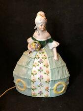 Veilleuse Porcelaine Polychrome Lampe Elegante Antique Porcelain Lamp Vers 1930
