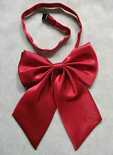 RED SILKY PUSSY BOW TIE RETRO PUNK LADIES WOMENS ADJUSTABLE NEW 1980s STYLE