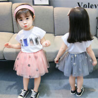 Toddler Kids Baby Girls Clothes T-shirt Tops+Tulle Tutu Skirt Dress Outfits Set