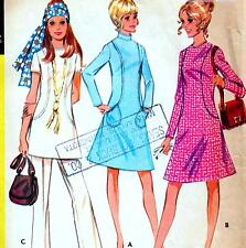 """Vintage 70s Mod DRESS Tunic & Pants Sewing Pattern Bust 34"""" Sz 10 Retro OUTFIT"""