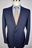 1970's Palm Beach Navy Blue Pinstripe Wool Two Button Two Piece Suit Size: 40R