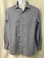 Mens Polo Ralph Lauren White Blue Plaid Long Sleeve Dress Shirt Size L