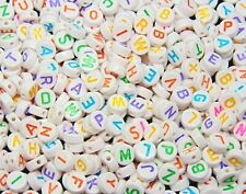 100 Pcs - 7mm White Alphabet Letter Beads Mixed Colour Round Kids Beads F168