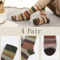 4 pair Men's Socks Casual Warm Winter Pairs Dress Thick Wool  Cashmere Blend