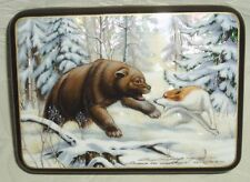 "Russian Lacquer box Mother of pearl Fedoskino "" Bear hunting "" Hand Painted"