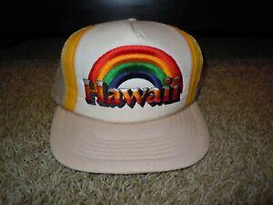 Vintage Hawaii Rainbow Warriors Hat Cap Snapback Trucker Mesh Sititched Logo