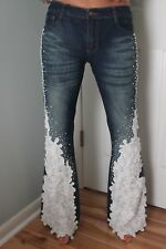 Amanda Adams Couture  Embellished Beads jeans size 29  3.5% Spandax $650 Retail