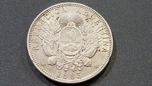 EXTREMLY RARE!!!   ARGENTINA  - 1 PESO - SILVER - YEAR 1883 - KM#29 -