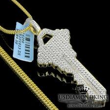Yellow Gold Finish Genuine Diamond Pendant The Key To The City Charm 0.33Ct Mens