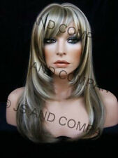 Long Straight layered razor cut ASH n BLONDE FACE FRAMING WIG WASR 18-22