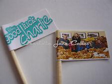 20 banderas Cupcake/Toppers-Buena Suerte Charlie para Niños Fiesta De Cumpleaños