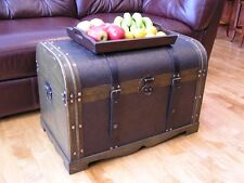 Antique Victorian Wood Storage Trunk Wooden Hope Chest Set of Two Trunks