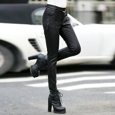 Lady Retro Faux Leather Skinny Trousers Punk Rock Leggings Jeans Slim Fit Pants