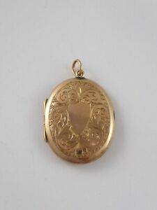 LOVELY LARGE ANTIQUE ORNATE VICTORIAN 9CT GOLD BACK & FRONT LOCKET PENDANT 4.9 g